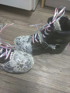 My Lolita Japanese style boots....They turned out better than I thought they would yay. Now to make the cuff bracelet and diy a denim jacket with lace and platinum and white pearl accents