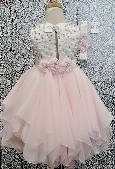 Little Girls formal dress Ivory Blush satin and chiffon Girls Formal Dresses, Little Dresses, Little Girl Dresses, Cute Dresses, Flower Girl Dresses, Fashion Kids, Little Girl Fashion, Toddler Dress, Baby Dress