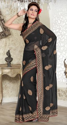 Contemporary Black Embroidered Saree$43.00