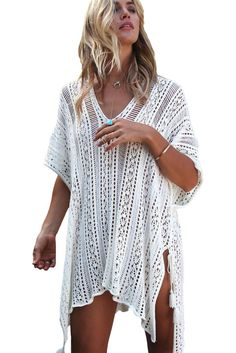 e04d140f635 Crochet Knitted Tassel Tie Kimono Beach Cover Up Bikinis
