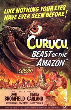 1956 Cult Horror movie poster 24x36 inches Beast of the Amazon Curucu