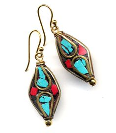 Nepal Earrings  Tibetan Earrings Turquoise Coral by Annaart72