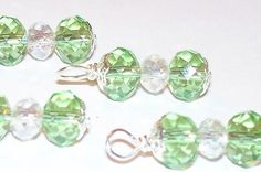 Green swarovski charm or drop 4pcs  wire wrapped by BeadsofPlenty, $4.00
