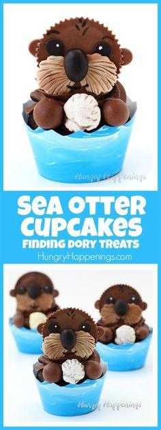 Your kids will squeal with delight when you serve them these adorably cute Sea Otter Cupcakes at your Finding Dory party.(Baking Bread With Kids) Cupcake Torte, Cupcake Recipes, Dessert Recipes, Yummy Treats, Sweet Treats, Oreo Dessert, Dessert Chocolate, Chocolate Cupcakes, Finding Dory