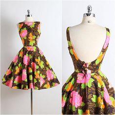 NEW! Vintage 1950s Dress | open back floral cotton • xs