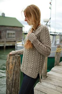 Nothing says sweater weather has arrived quite like a cabled pullover! Everybody needs something that's just right for football games, trips to the cider mill and tossing on with a pair of jeans. Maritime is worked flat, allowing the cables to flow into the raglan shoulders. Shown in Plucky Scholar, the cables positively pop!