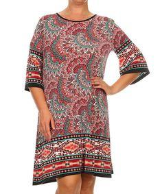 Another great find on #zulily! Pink & Teal Arabesque Shift Dress - Plus #zulilyfinds