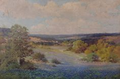 """""""Robert William Wood (1889 - 1979) Oil on Canvas, Texas Bluebonnet Landscape""""  A large blue bonnet landscape, signed at the lower right. To our knowledge this is the largest blue bonnet landscape by Wood offered to the market in recent history."""