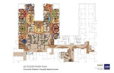The floor plan for the CBDI inpatient unit on the 5th floor of Cincinnati Children's. As with the outpatient clinic, patient areas are divided between younger children and adolescents/young adults.