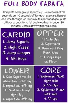 Tabata workout, been cross training with tabata lately and LOVE it! - Tabata workout, been cross training with tabata lately and LOVE it! Reto Fitness, Body Fitness, Fitness Diet, Health Fitness, Shape Fitness, Fun Workouts, At Home Workouts, Body Workouts, Workout Exercises