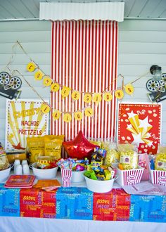 Concession table for drive-in movie b-day party