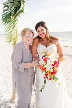 Bride with her grandma at a Tropical Beach Wedding | South Florida Wedding Photographer | Crystal Bolin Photography (73)