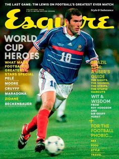 """MediaSlut's """"World Cup magazine covers starting to trend"""", 9 May Esquire UK, June 2014 — Zinedine Zidane. Magazine Cover Design, Magazine Covers, Esquire Uk, Tapas, French People, Sports Magazine, Last Game, Cover Style, World Football"""