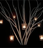 On the guest book table, there will be a cylinder vase filled with white paper birch branches and candles will be hanging from smoky purple-gray ribbon. Manzanita Branches, Birch Branches, Baby Food Jar Crafts, Baby Food Jars, Hanging Candles, Hanging Lights, Diy Hanging, Party Lights, Tea Lights