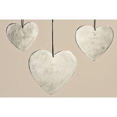 Sada 3 závěsných dekorací Hanger Heart
