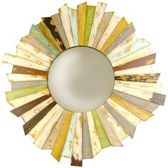 Colorful wooden wall mirror