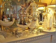 glass encased snow village
