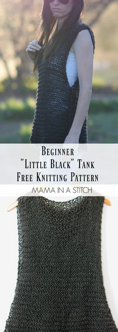 "Easy ""Little Black"" Tank Top Free Knitting Pattern via @MamaInAStitch #diy #crafts"