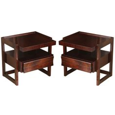 Pair of Mid Century Mahogany Night Tables by Paul Laszlo | From a unique collection of antique and modern night stands at http://www.1stdibs.com/furniture/tables/night-stands/