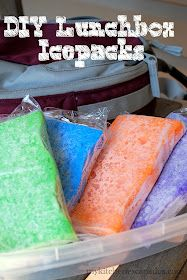 Make ice packs out of sponges: soak sponge in water, put in ziploc bag and freeze. When it thaws, water is reabsorbed by the sponge! Lightweight and great for lunch boxes