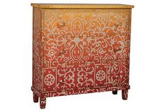 Unique ombré and stenciled dresser at One Kings Lane