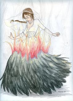 I feel warm, then I look down and see flames... I love this, her dress is book accurate