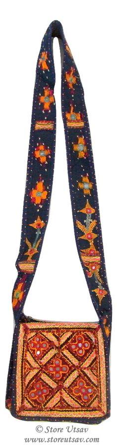 Sling Bag Handmade Kutch Embroidery with Mirror Work