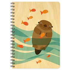 Night Owl Paper Goods Otter School of Fish Wood Journal ($11) ❤ liked on Polyvore featuring home, home decor and stationery