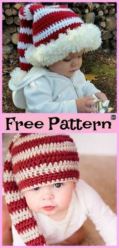 16d08f3fd39 10 Crochet Christmas Hats - Free Patterns  freecrochetpatterns  Christmas   hat  gift Crochet
