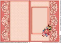 Rosey Posey Lace Border A5 Matching Insert  on Craftsuprint designed by Sandie Burchell - Beautiful A5 Insert. There is also a Matching Decoupage Sheet for this design please see related sheets. To see more of these designs click on my name and type lace border into my search box and sort newest first. Please take a look at my other designs by clicking on my name. - Now available for download!