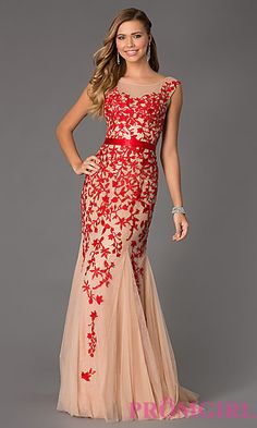 Red and Blush Floor Length Cap Sleeve Embroidered Dress by Sherri Hill - Style: SH-11226 - https://www.sherrihill.com/style/11226/