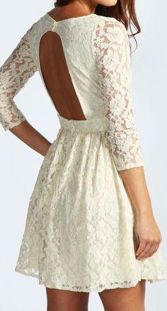 Cream lace open back dress #designtrend