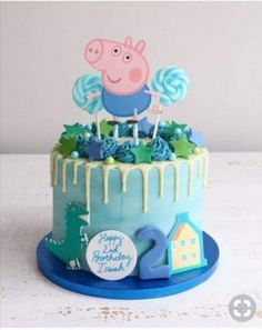 Peppa Pig George Buttercream Drip Cake Peppa Pig can be a Indian preschool lively tv Bolo George Pig, Peppa Pig Y George, George Pig Party, Tortas Peppa Pig, Bolo Da Peppa Pig, Peppa Pig Cakes, Baby Boy Birthday Cake, Peppa Pig Birthday Cake, Women Birthday