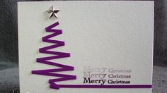 Let's take time.: C wie Christbaum (Christmas Ideas Tree) Homemade Christmas Cards, Noel Christmas, Homemade Cards, Handmade Christmas, Holiday Cards, Christmas Ribbon, Purple Christmas, Theme Noel, Creative Cards