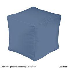 Dark blue grey solid color pouf Navy Blue Cushions, Navy Blue Throw Pillows, Red Cushions, Red Pillows, Decorative Cushions, Dark Denim, Blue Denim, Blue Living Room Decor, Dark Blue Grey