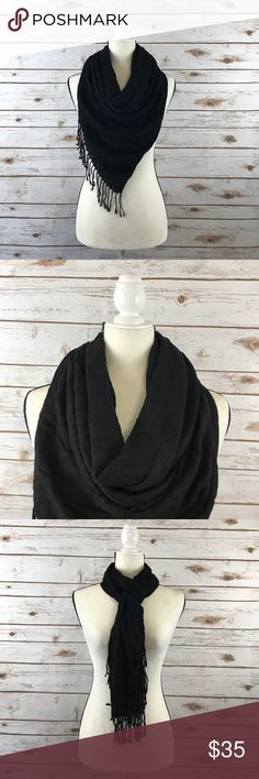 "Dolce & Gabbana D&G Silk Cashmere scarf Pashmina This is a Dolce & Gabbana cashmere and silk blend pashmina/scarf in black. This scarf is 24"" wide and 66"" long with fringe on the ends. This scarf is in excellent used condition. Thanks! Dolce & Gabbana Accessories Scarves & Wraps"