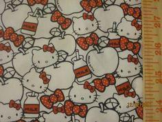 Kawaii Cute Hello Kitty Milk on White Cotton Lycra Knit Fabric