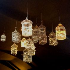 Combining the soft lighting from the LEDs and the flowing curves of the bird cage creating an elegant piece.
