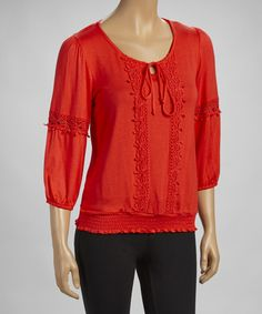 Take a look at this Red Crocheted Shirred Scoop Neck Top by Simply Irresistible on #zulily today! $20 !!