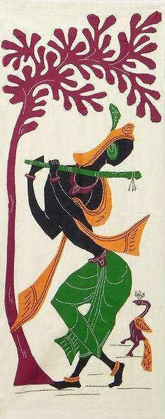 Murlidhar Krishna - (Wall Hanging) (Applique Work on Cotton Cloth) Madhubani Art, Madhubani Painting, Indian Crafts, Indian Art, Arte Krishna, Krishna Radha, Lord Krishna, Pictures To Draw, Art Pictures