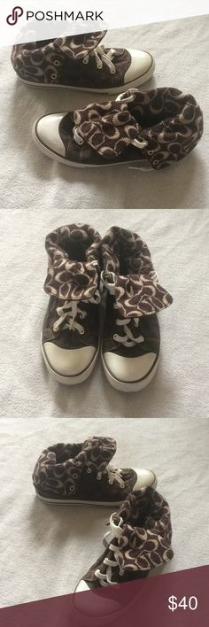 Coach Bonny Knit High Tops size 8M Beautiful chocolate colored high tops from Coach! The inside has a sweater knit feel, that fold over to the outside! Gently used condition. Still have a lot of life left in them. Size women's 8M! Coach Shoes Sneakers