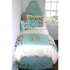 Light Blue, Gold and Multicolor Deer Wonderlands Dorm & Teen Designer Bedding Set. Dorm Décor and More! Available in all bed sizes: twin, full/queen, and king. Custom pillows, exclusive bed scarf, window panels, wall art, bed skirts, and custom monogramming! Custom-made designer bedding and accessories.