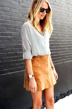 striped shirt + ray bans + classic watch + button down skirt = boom.