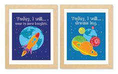 Planets Rocket Outer Space Wall Art for Boys Room or by cocomokids, $45.00
