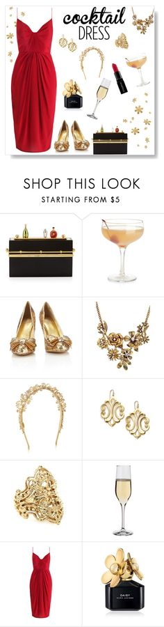 """""""Cocktail Dress"""" by styleskater7 ❤ liked on Polyvore featuring Charlotte Olympia, Crate and Barrel, Wallis, Eugenia Kim, A.V. Max, IaM by Ileana Makri, Dartington Crystal, Smashbox, Zimmermann and Marc Jacobs"""