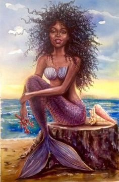 Mermaid by Katerina Kovatcheva Black Girl Art, Black Women Art, Black Girl Magic, Art Girl, Mermaid Artwork, Mermaid Drawings, Black Art Painting, Black Artwork, African Goddess