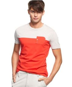 $29.50 Kenneth Cole Reaction T Shirts, Short Sleeve Color Block Crew T Shirt - Mens T-Shirts - Macy's