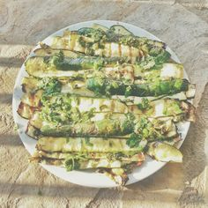 "Zucchini grilled, and seasoned ""a scapece"": olive oil, red wine vinegar, chopped garlic, mint…"