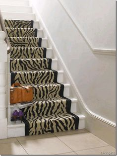 Hallway with faux zebra-print staircase runner Hallway Carpet Runners, Cheap Carpet Runners, Stair Runners, Table Runners, Leopard Carpet, Stairway Carpet, Inspiral Carpets, Staircase Runner, Where To Buy Carpet