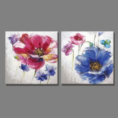 2 Piece free shipping Purple blue flowers and Butterfly oil painting Home Decor Wall Painting Paintings for living room #OilPaintings #OilPaintingButterfly